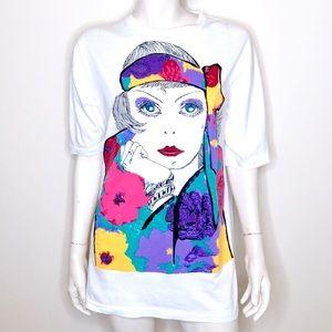 Vintage 80s graphic Coco Chanel artsy face tee